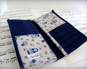 Handmade fabric wallet with Navy blue nesting dolls. Free shipping etsy.