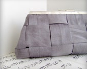 Framed Formal Clutch Purse. Platinum slate gray silk woven clutch bag. Made to order