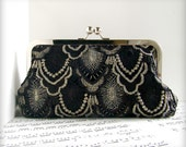 Black and silver lace formal clutch, Lace Fashion evening bag