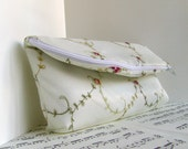 Ivory bridal foldover zipper clutch purse with lace. Spring fashion