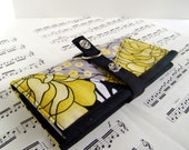 Womens Fabric Wallet. Patchwork black, yellow, and gray wallet.