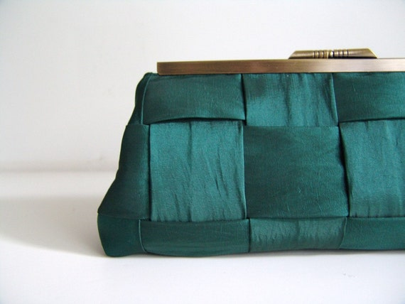 Handmade Clutch Purse in antique gold frame. Emerald Green woven taffeta. Made to Order.