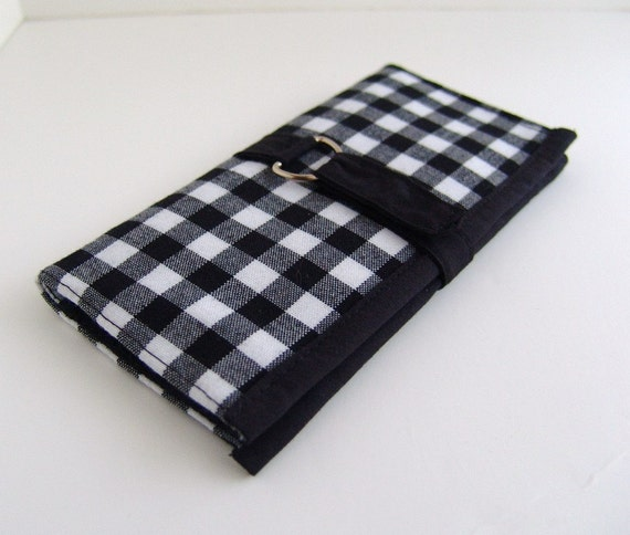 Fabric Womens Organizer Wallet. Black and white gingham