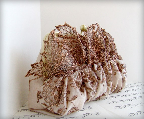Gathered clutch purse with bronze autumn leaves, fall fashion. Clutch bag