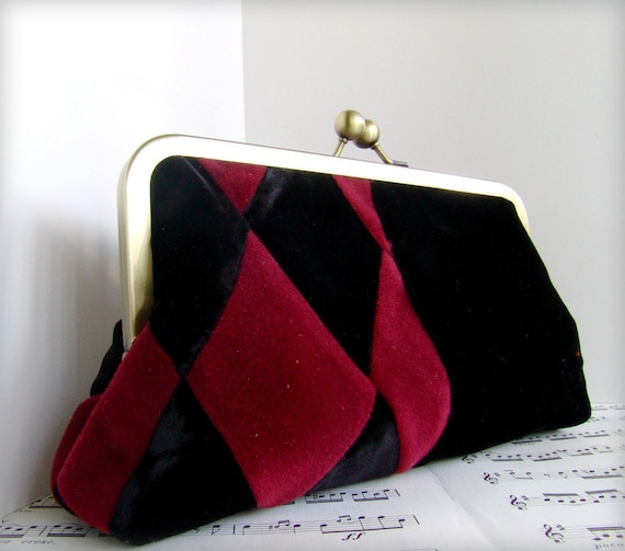 Reserved for Nikki Venetian diamonds Velvet clutch purse, Harlequin black and red clutch bag