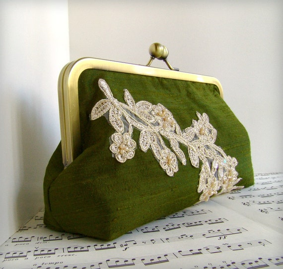 Moss olive green formal evening clutch bag. Silk clutch purse with beaded lace . Lace fashion