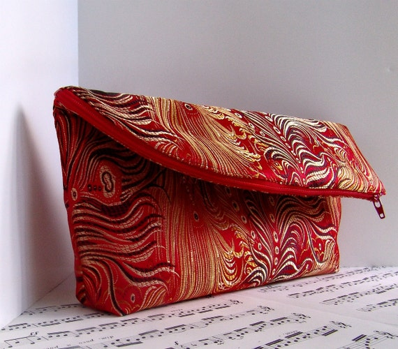 Red peacock brocade foldover clutch purse pouch with zipper.