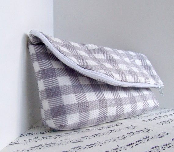 RESERVED. Clearance. Gray and white checks foldover clutch purse zipper pouch