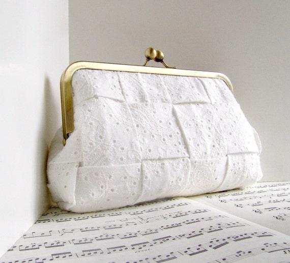 White clutch purse, cotton eyelet woven clutch bag, wedding fashion