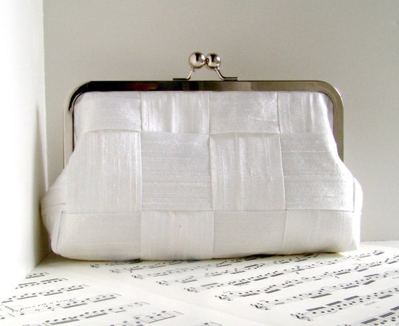 White silk clutch purse, woven clutch bag, Bridal clutch, bridal fashion