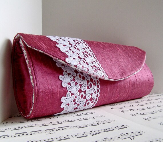 Rose pink silk clutch bag with white lace, Mauve formal clutch purse