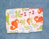 Male Dog Diaper Belly Band  Pet Wrap  Orange  Dinosaur Custom Sizes to 22 Inches