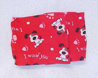 """Male Dog Belly Band Diaper Pet Wrap Doggie Pants Woof You Fabric Size To 30"""""""