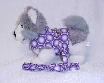 Small Dog Harness Vest And Matching Lead Leash  Custom Sizes From XSmall - Medium Purple Medallion