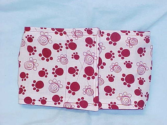 Male Dog Diaper Belly Band  Wrap Dog  Cranberry Scribble Paw Prints Custom  Size  To 12 Inch ONLY