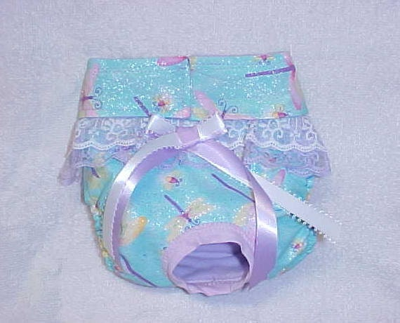 Dog Diaper Panty Panties For Female Sizes xSmall To Medium Butterfly Dragonfly Fabric