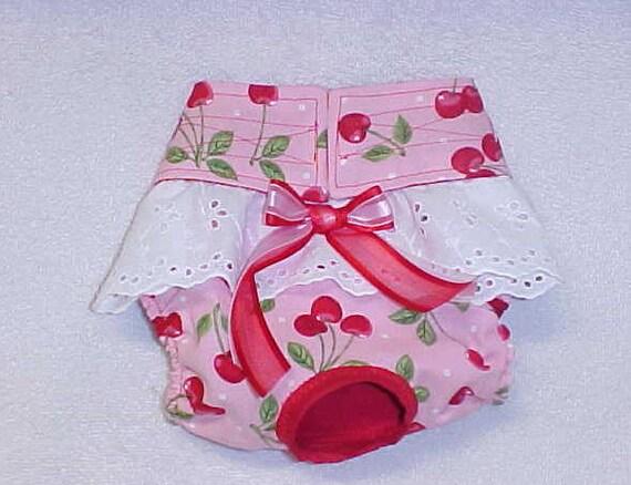 Dog Diaper Britches Pantie Pet Wrap For Female Custom Sizes XSmall  to Medium Cherry Print