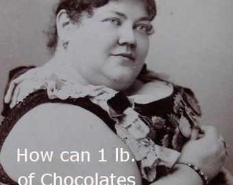 Vintage Photo Magnet- How can 1 lb. of chocolates