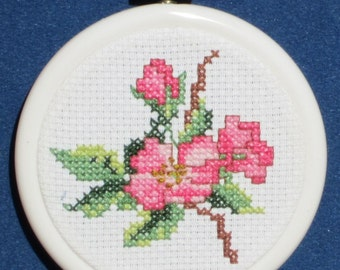 Pink Roses Cross Stitch Kit With Aida Cloth