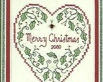 Merry Christmas Heart Counted Cross Stitch Sweetheart Tree Kit