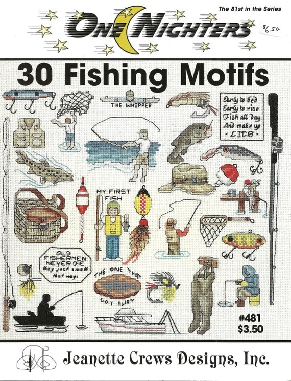 30 Fishing Motifs - One Nighters of Cross Stitch Designs by Jeanette Crews Designs