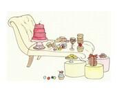 Sugar Glam - 8x10 Art Print - Lemon - Dessert Party - Chaise Lounge - Furniture, Color Pop - Let Them Eat Cake - Marie Antoinette