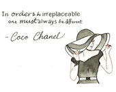 Coco Chanel - 8x10 Art - Chanel Quote - Fashion Typography - Women Art - Dress - Feminine - Black and White Chanel - Floppy Summer Hat