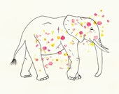 Elephant 8x10 Art Print - Floral, Flowers, Animal, Jungle, Safari - Pretty, Romantic, Line Drawing - Outline, Nature - Nursery, Family