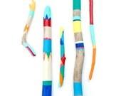 Painted Sticks - 5 Piece Art Collection - Bold Colors, Driftwood, Beach, Stripes, Color Block, Bohemian,Triangles, Chevron - Beach Decor