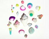 Neon Coral and Seashells 20 piece collection - Mermaid Art, Wedding, OOAK, Beach, Nautical, Summer, Starfish, Miniature, White, Shells