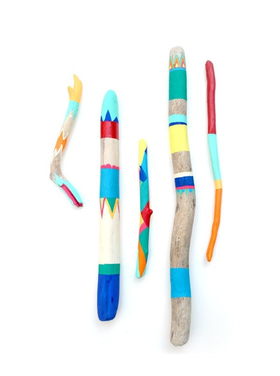 Painted Sticks - 5 Piece Art Collection - Bold Colors, Driftwood, Beach, Stripes, Color Block, Bohemian,Triangles, Chevron - Beach Decor
