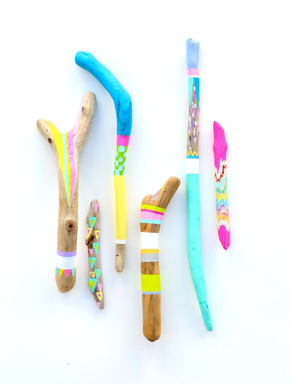 Painted Sticks - 6 Piece Collection, Tribal Geometry, Neon Triangles, Stripes, Chevron, Rainbow - Braid, Feather - Beach Decor, Driftwood