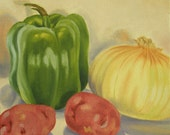 """Green Pepper, Yellow Onion, Red Potatoes - 8x8"""" Original Oil painting - Still Life Painting"""
