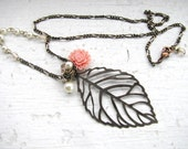 Brass Leaf and Flower Necklace