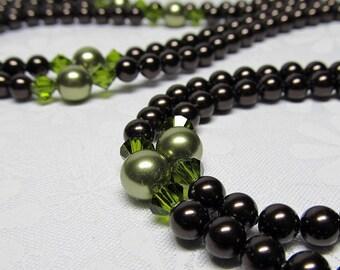 Brown Green Necklace Pearl Crystal Swarovski Long Silver