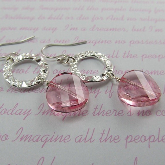 Rose Twist Crystal Hammered Silver Earrings Swarovski