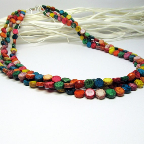 Multi Colored Stone Bead Triple Strand Silver Necklace