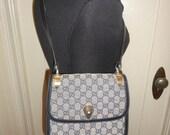 Authentic Gucci Monogram Purse Shoulder Bag Navy GG RARE