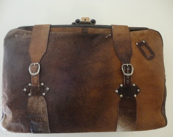 Amazing and RARE Vintage 60's or 70's Custom Made hair on Cowhide pony skin Suitcase