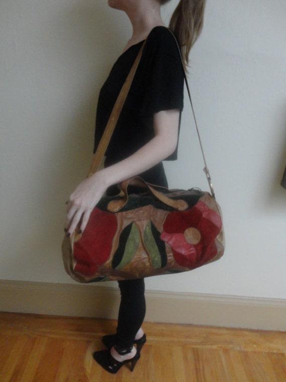 70's Joseph Magnin Floral Appliqued Leather Duffel Duffle Bag CHAR Style