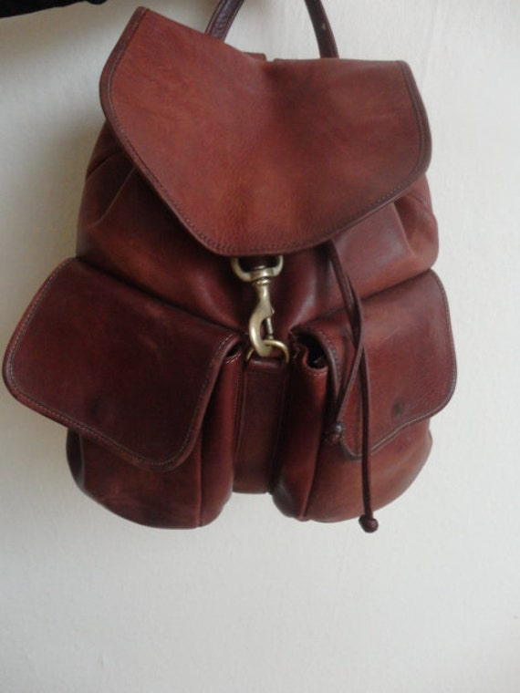 Vintage Large High Quality Brown Leather Backpack Rugged