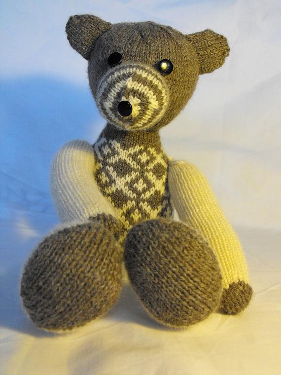 Teddy bear mr. Franz - hand knitted teddy bear from undyed wool of british sheep