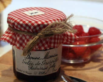 Red gingham jam jar covers -set of 6