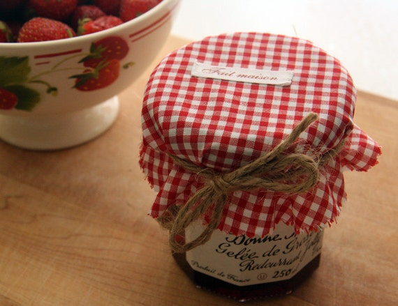 Red gingham jar covers with Fait Maison ribbon -set of 4