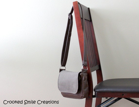 Small Messenger Bag - Brown Vegan Leather