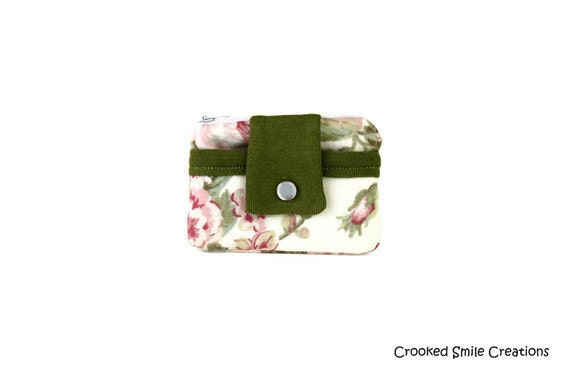 Rose Tapestry Change Wallet, Coin Purse, Card Case, Zippered Pouch