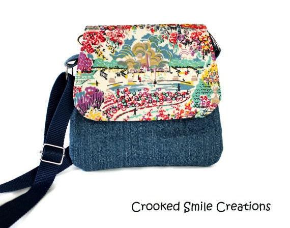 Impressionist Cross Body Bag - Blue Denim Purse