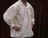 Mens White or unbleached Drop Yoke (2XL or 3XL) Renaissance Primitive Pioneer Pirate Poet Theatre Shirt