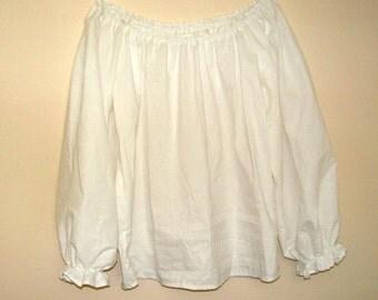 Girls (1/2, 3/4,or  5/6, )  White Renaissance Faire Long Sleeve Chemise Blouse