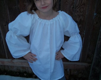 Girls Choice of Size (7/8, 9/10, 11/12, ) Renaissance Faire Bell Flared Chemise Blouse